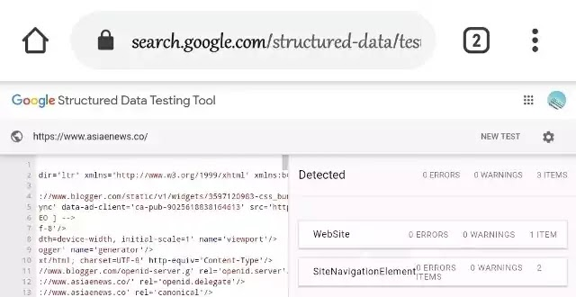 best-seo-blogger-template-Structured-Data-Testing-Tool-result
