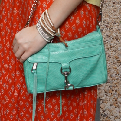 wrap bracelet and red printed maxi skirt with Rebecca Minkoff mini MAC in aquamarine with python embossed leather | away from the blue