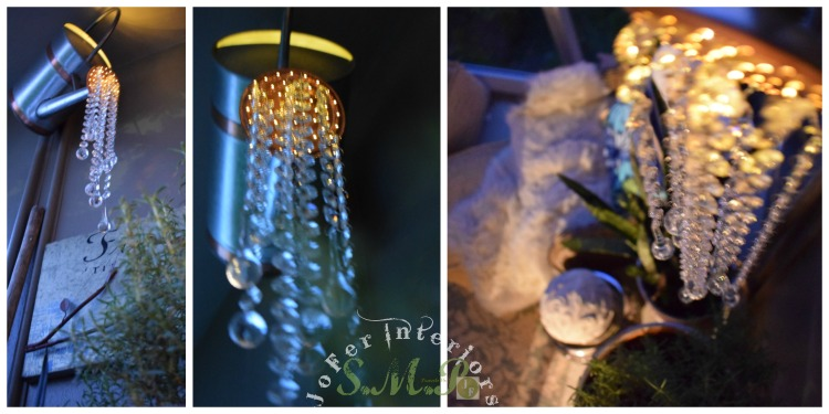 Making a garden chandelier using a galvanised aluminum,copper watering can and Crystal teardrops