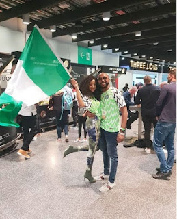 Banky W and his wife rocking Nigeria World Cup jersey