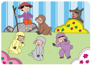 bermain peran dongeng Anak Gembala dan Serigala