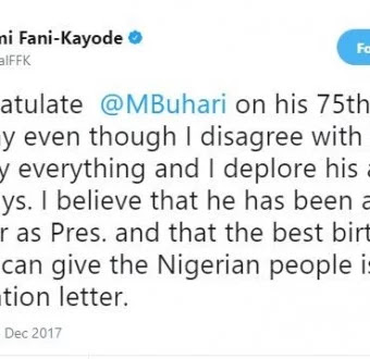 Reno Omokri And FFK Demands 'Resignation' As Buhari's 75th Birthday Gift To Nigerians