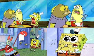 Polosan meme spongebob dan patrick 60 - spongebob teriak, ada ikan yang wajahnya jelek