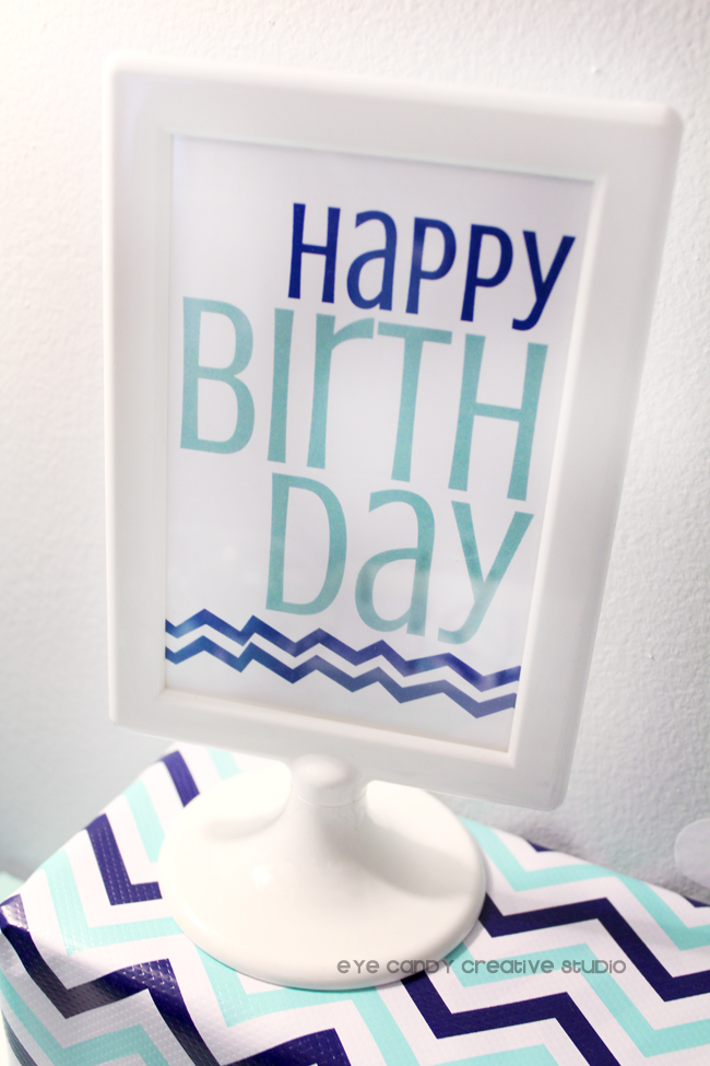 happy birthday sign, white IKEA frame, chevron, craft party signs
