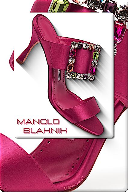 ♦Manolo Blahnik Verda bright pink bejeweled satin mules #shoes #manoloblahnik #pink #brilliantluxury