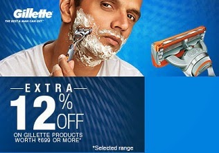 Extra 12% Off on Gillette Men's Grooming Products (Shaving Razor, Foam, After Shave, Cartridges)