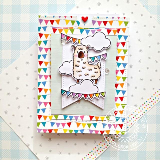 Sunny Studio Stamps: Slimline Dies Sliding Window Dies Lovable Llama Balloon Rides Card by Franci Vignoli