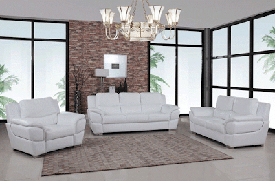 Huron White Leather Modern Sofa Furniture