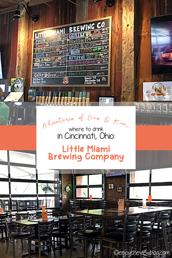 pinnable image of the tables and chairs in Little Miami Brewery, as well as the tap list
