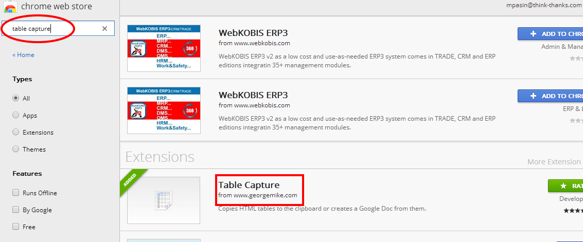 Google Chrome Table Capture Extension