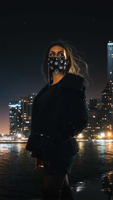 15 Beautiful Girl Mask Colored Smoke Wallpapers HD for iPhone and Android