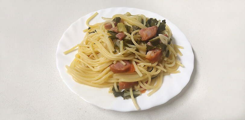 receita esparguete com chouriço e acelga - tropa do batom