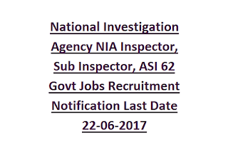 National Investigation Agency NIA Inspector, Sub Inspector, ASI 62 Govt Jobs Recruitment Notification Last Date 22-06-2017