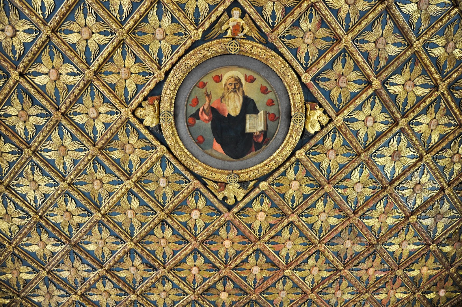 A close-up of the splendid ceiling in the first room of Gallerie dell'Accademia in Venice