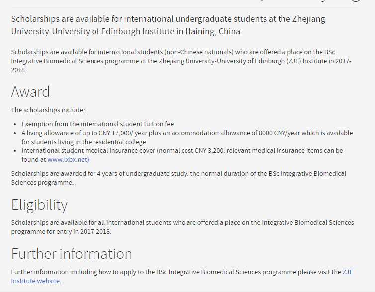 Biomedical Sciences Undergraduate Scholarships for International Students Zhejiang University