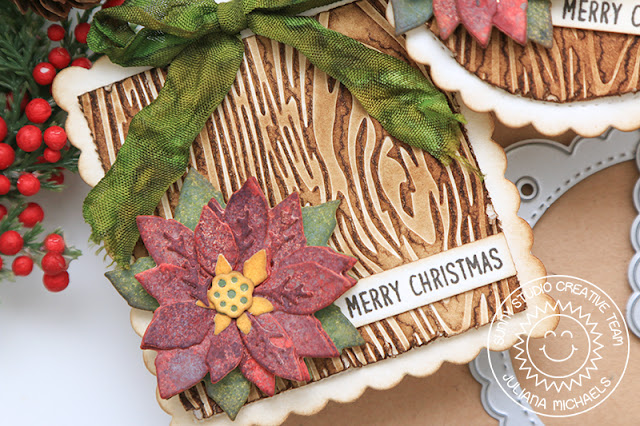 Distressed Layered Poinsettia Christmas Tag featuring Sunny Studio Stamps Layered Poinsettia Die, Wood Grain Embossing Folder and Scalloped Tags