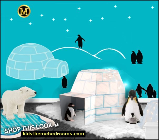 Penguin- Igloo Antarctic Winter Eskimo Animals Antarctica wall decals - igloo playhouse - polar bear plush toys - penguin plush toys