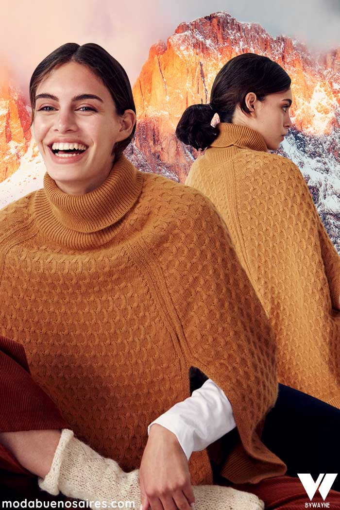 poleron tipo capa tejida moda mujer invierno 2021