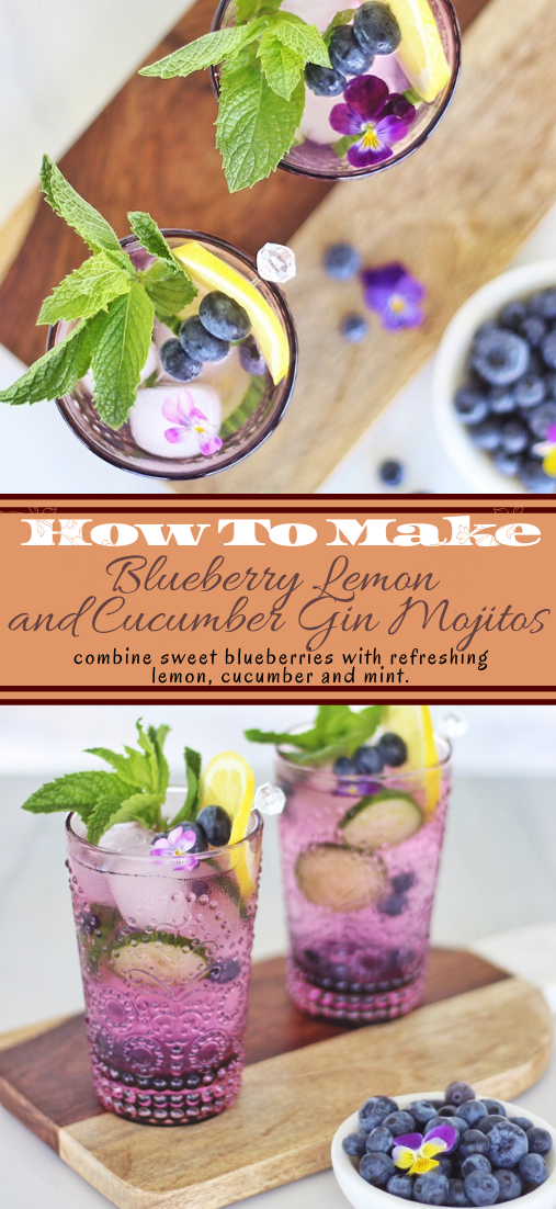 Blueberry Lemon and Cucumber Gin Mojitos  #healthydrink #easyrecipe #cocktail #smoothie