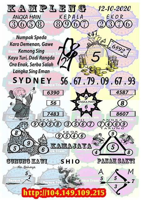 Kampleng SDY Sydney Senin 12 Oktober 2020