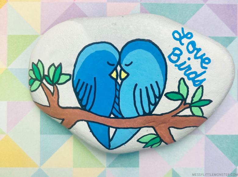 Valentine's Day love bird painted rocks