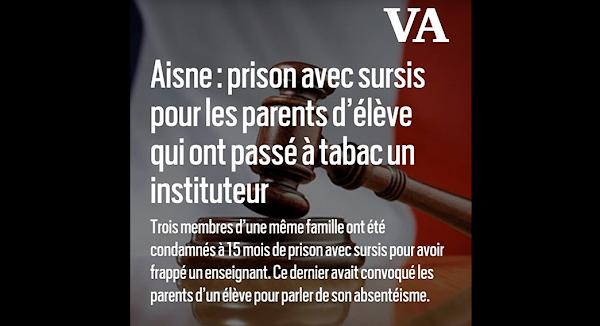 Aisne : prison avec sursis pour les parents d'élève qui ont passé à tabac un instituteur