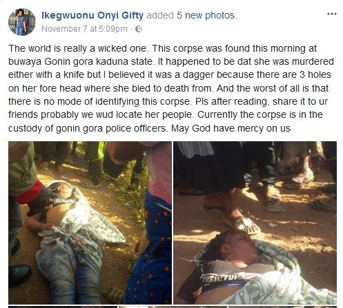 Dead Body Of A Lady Discovered After Being Killed By Suspected Ritualists (Photo)