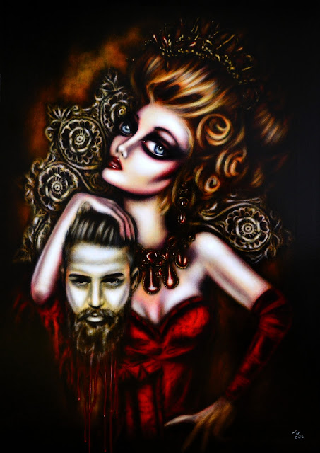 painting of red head salome with the head of john the Baptist in her hands by tiago azevedo a lowbrow pop surrealism artist
