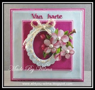 Felicitatiekaart met bloemen (bloesem). Congratulatory card with flowers (blossom).