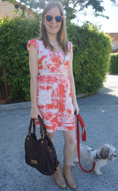 what to wear with an orange print dress belted pistol boots mbmj fran