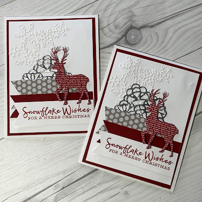 Two Christmas Cards using snowflake and deer die cuts with three banners