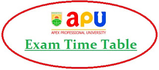 Apex Professional University Exam Date Sheet 2020