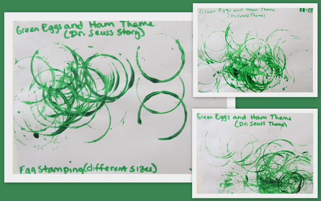 photo of:Dr. Seuss toddler project, painting for Green Eggs and Ham, Dr. Seus