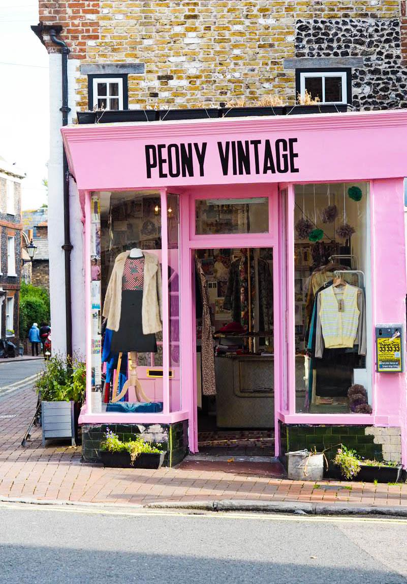 Peony Vintage Margate pink shop exterior