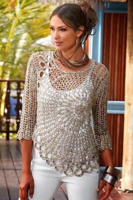 Patrón #1205: Blusa a Crochet