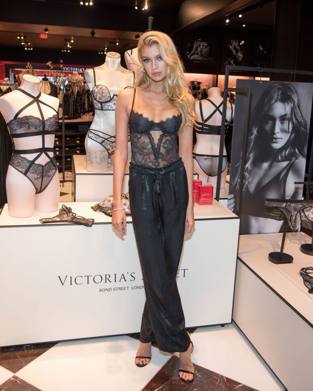 Stella Maxwell flaunts sheer bustier at the launch of the latest VS Collection