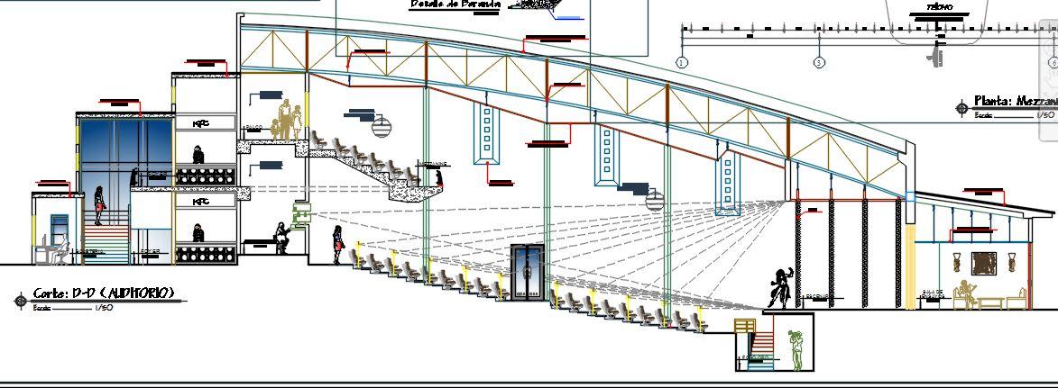 Planos arquitect nicos de un auditorio autocad civil21 for Cortes arquitectonicos