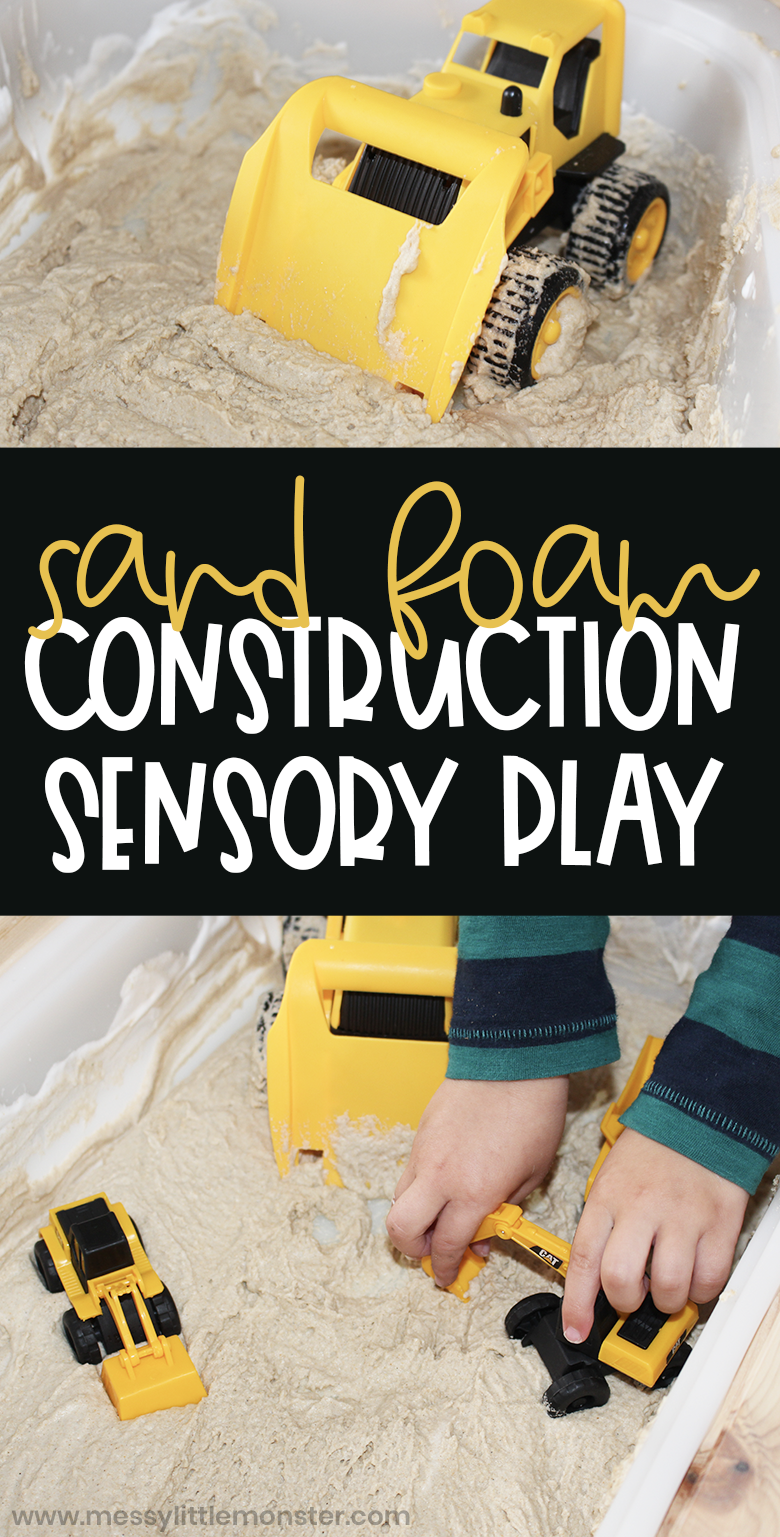 Sand foam construction sensory play. Construction sensory bin activity for toddlers and preschoolers. Easy sensory play recipe.