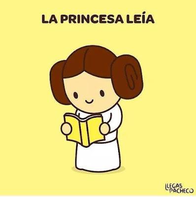 Meme de humor sobre la lectura y la princesa Leia