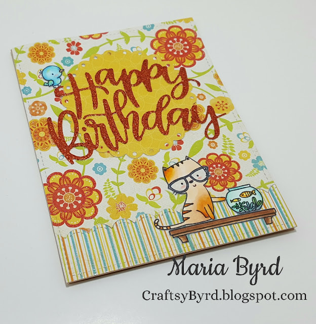 Colorful MFT Housecats Happy Birthday Card made by Maria Byrd   CraftsyByrd.blogspot.com