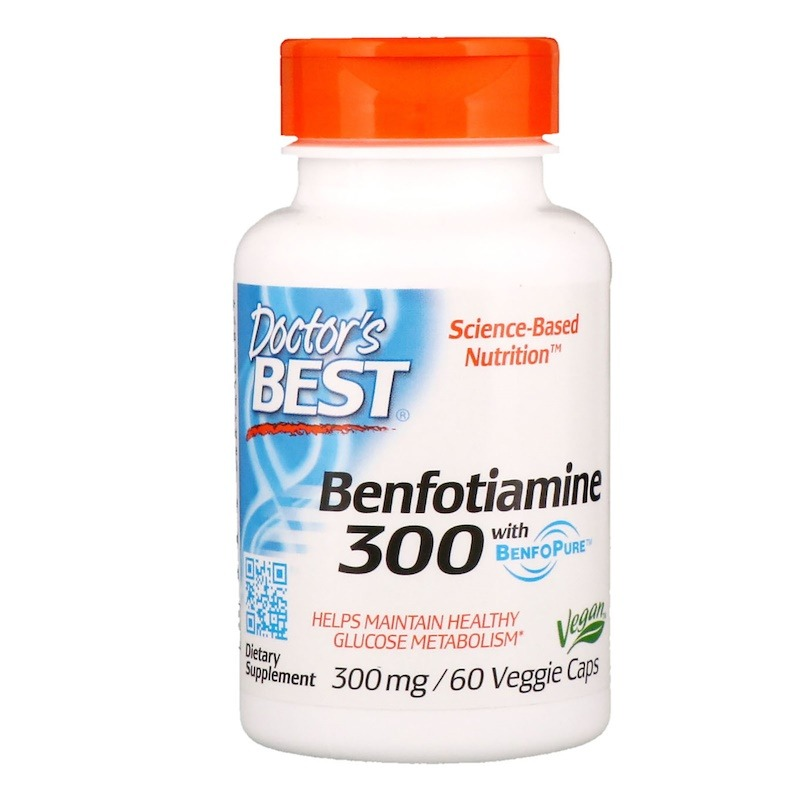 Doctor's Best, Бенфотиамин с BenfoPure, 300 мг, 60 растительных капсул