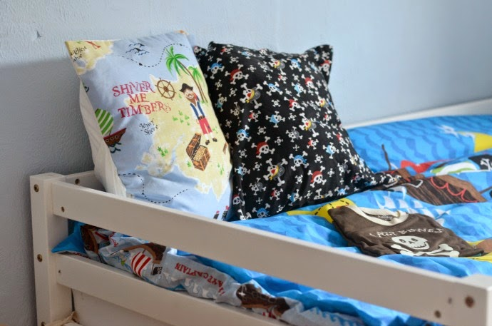 pirate cushions, pirate reading corner, pirate themed bedroom, pirate kids room