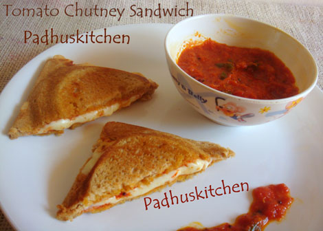 Tomato Chutney Cheese Sandwich