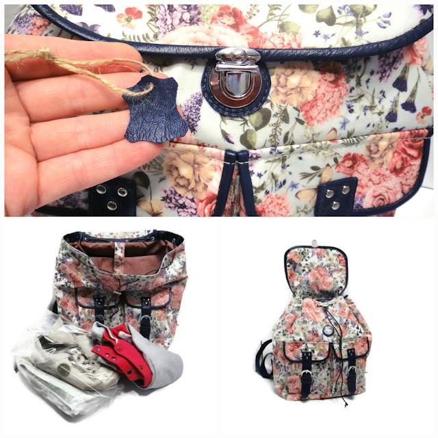 Рюкзак женский городской из водонепроницаемой ткани, отделка натуральной кожей. Ручная работа, единственный экземпляр