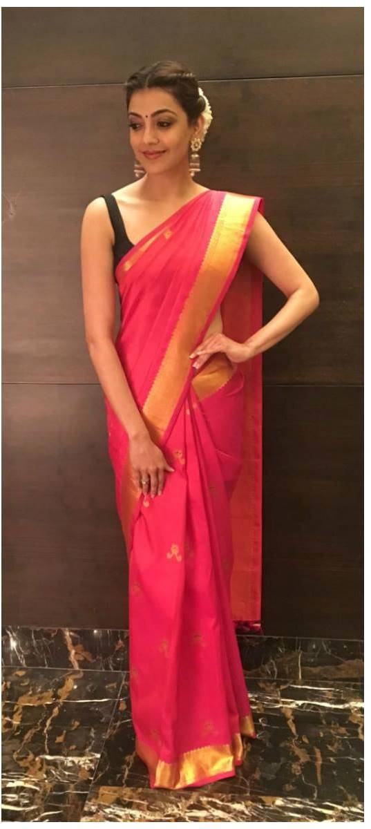 Kajal Aggarwal Photos In Traditional Red Pattu Saree