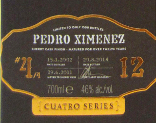 Tomatin Cuatro PX label