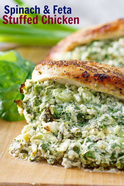 Chicken breasts stuffed with feta and spinach are a perfect dinner entree and they are easier to make than you'd think.  Company will be impressed, but they are quick enough to make for a family dinner as well.