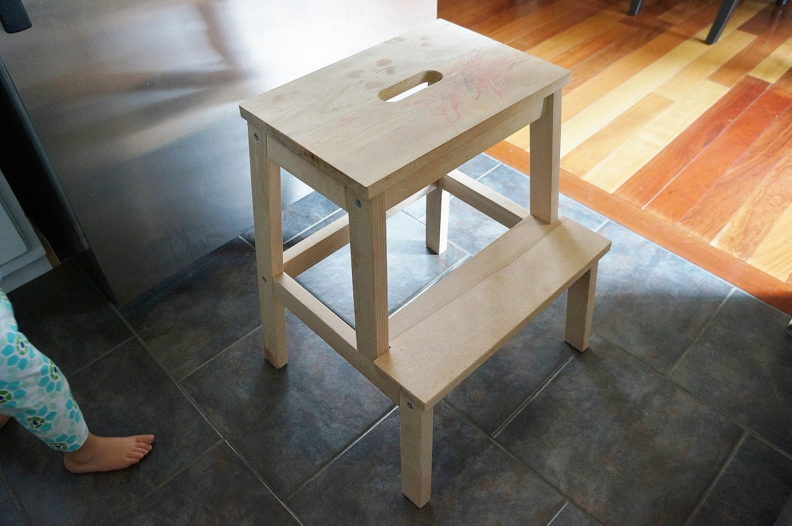 Ikea Kitchen Step Stool Calphalon Essentials Stainless Steel Freckles Chick Spruced Up Bekvam