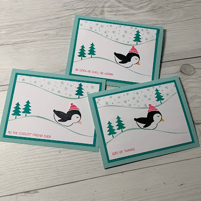 Three hand-made greeting cards with different sentiments showing the versatility of the Stampin' Up! Penguin Place Stamp Set