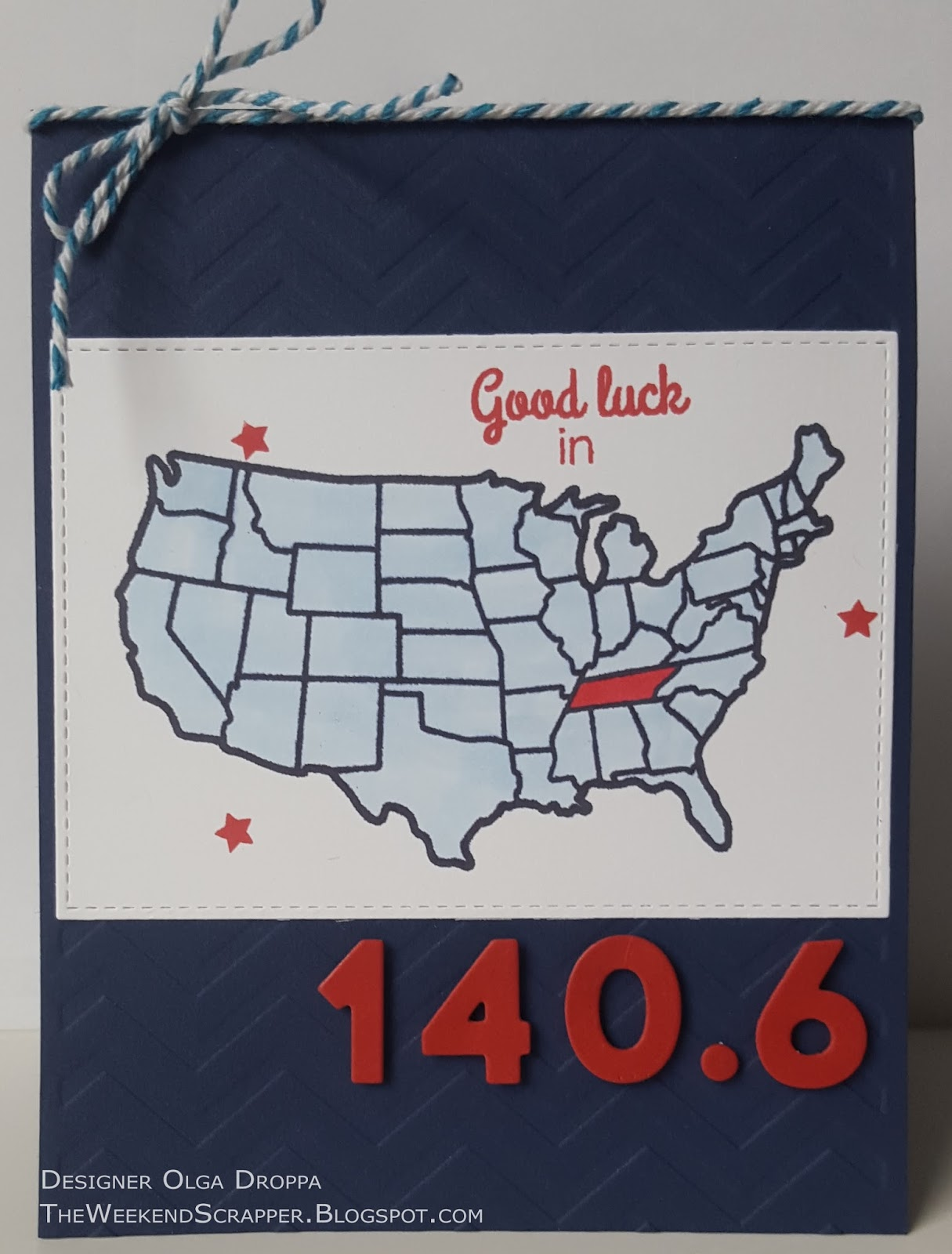 red white and blue us map card good luck 140 6 triathlon race